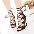 Plus size 35-43 Women Pumps Brand Designer High Heels Cut Outs Lace Up Open Toe Party Shoes Woman Gladiator Sandals Women Ladies