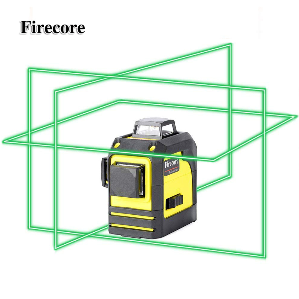 Firecore 3D 93TG 12Lines Green Laser Levels Self-Leveling 360 Horizontal And Vertical Cross Super Powerful Green Laser Beam Line
