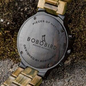 Image 5 - BOBO VOGEL Mannen Horloges Gepersonaliseerde Houten Horloge Mannelijke voor Hem Handgemaakte Lichtgewicht Chronograaf Datum Causale relojes militaire