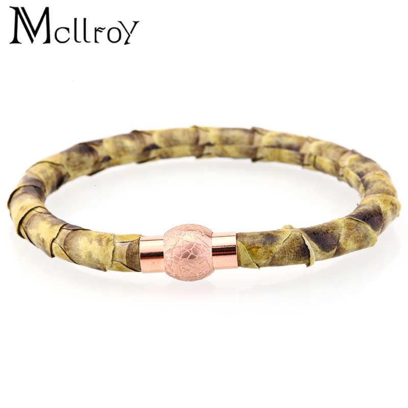 Mcllroy mężczyźni bransoletka skórzana moda para wężowej rope chain titanium stali nierdzewnej knot bransoletka skórzana mężczyzn pulseira masculina nowy