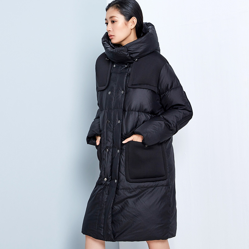 LYNETTES CHINOISERIE Winter Original Design Women Loose Cool Patchwork Thick 90% White Duck Down Jackets Coats Outerwear