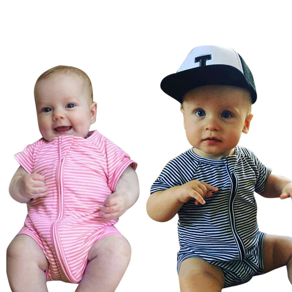 New arrival two color Newborn twins Baby Boys Girls Stripe Zipper Romper Jumpsuit Outfit Clothes Short Sleeve cute jumelle bebes