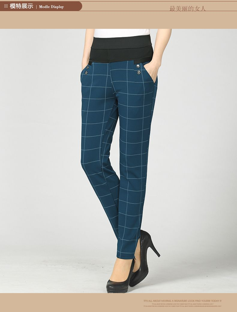 Woman Casual Pant Navy Blue Green Black Plaid Trousers Women Spring Autumn Winter Trouser High Waist Elastic Band Pantalonese Mujer  (19)