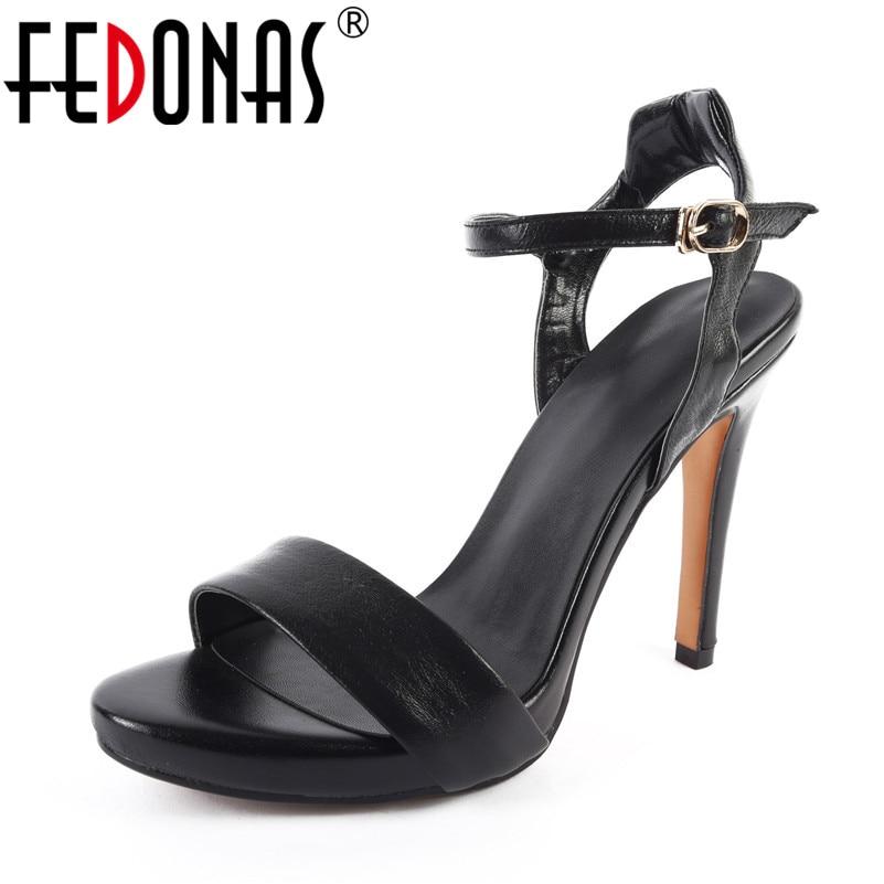 FEDONAS Women Genuine Leather Shoes Woman Sandals Peep Toe High Heels Sandals Classic Design Buckles Ladies