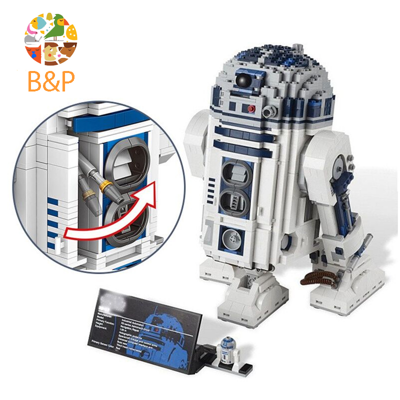 lepin 10225 Star 2127Pcs Series Wars R2D2 Robot Building Blocks Bricks Educational Boy Toys For Children Model Gifts 05043 robot building blocks lepin 05043 2127pcs star series wars r2 d2 bricks model educational toys 10225 children boys toys gifts