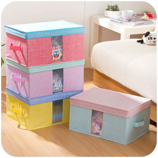 Charmant Spell Color Linen Like Non Woven Storage Box With Windows Covered Clothing  Storage Boxes
