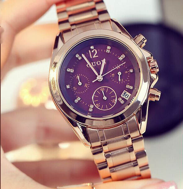 Ancient European fashion six pin small steel watch dial female Korean Rhinestones retro Business Casual watch