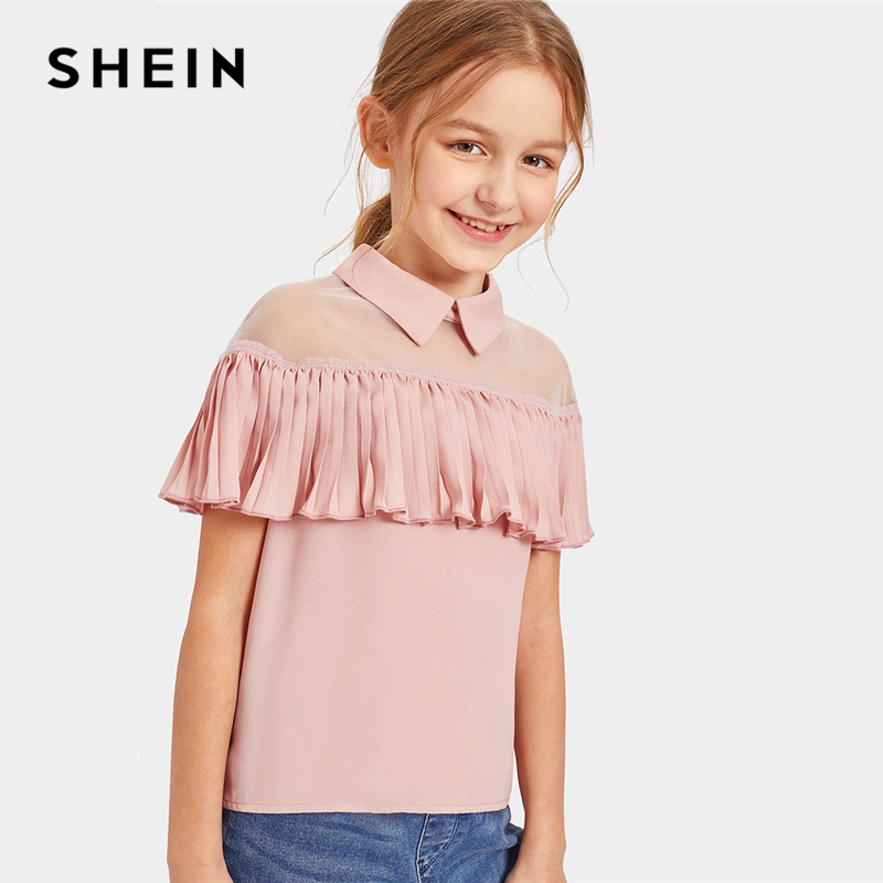 SHEIN Kiddie Pink Mesh Insert Ruffle Embellished Cute Blouse Kids Tops 2019 Summer Sheer Button Sleeveless For Children Blouses mini lace sheer ruffle slip babydoll