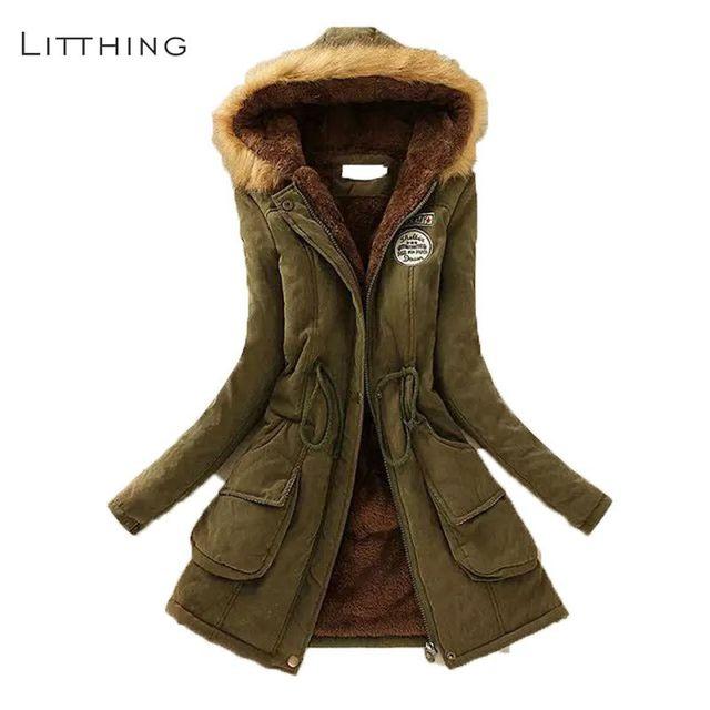 LITTHING Vrouwen Pluizige Parka Vrouwelijke Vrouwen Jas Dikker Warme Katoen Winter Jacket Womens Uitloper Parka 2019 Lente Plus Size 3XL