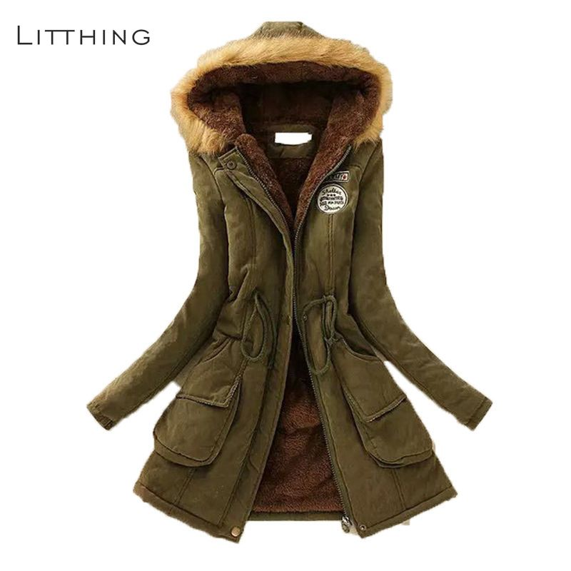 LITTHING Women Fluffy   Parkas   Female Women Coat Thicken Warm Cotton Winter Jacket Womens Outwear   Parkas   2019 Spring Plus Size 3XL