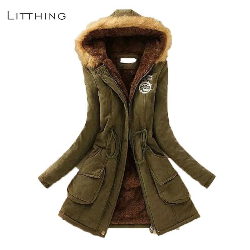 LITTHING Women Fluffy   Parkas   Female Women Coat Thicken Warm Cotton Winter Jacket Womens Outwear   Parkas   2019 Spring Plus Size 3XL