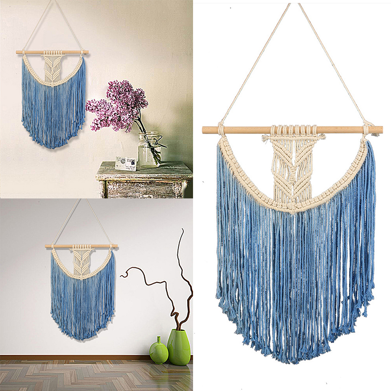 Macrame Woven Art Wall Hanging Tapestry Handmade Bohemian Home Office Wall Decor
