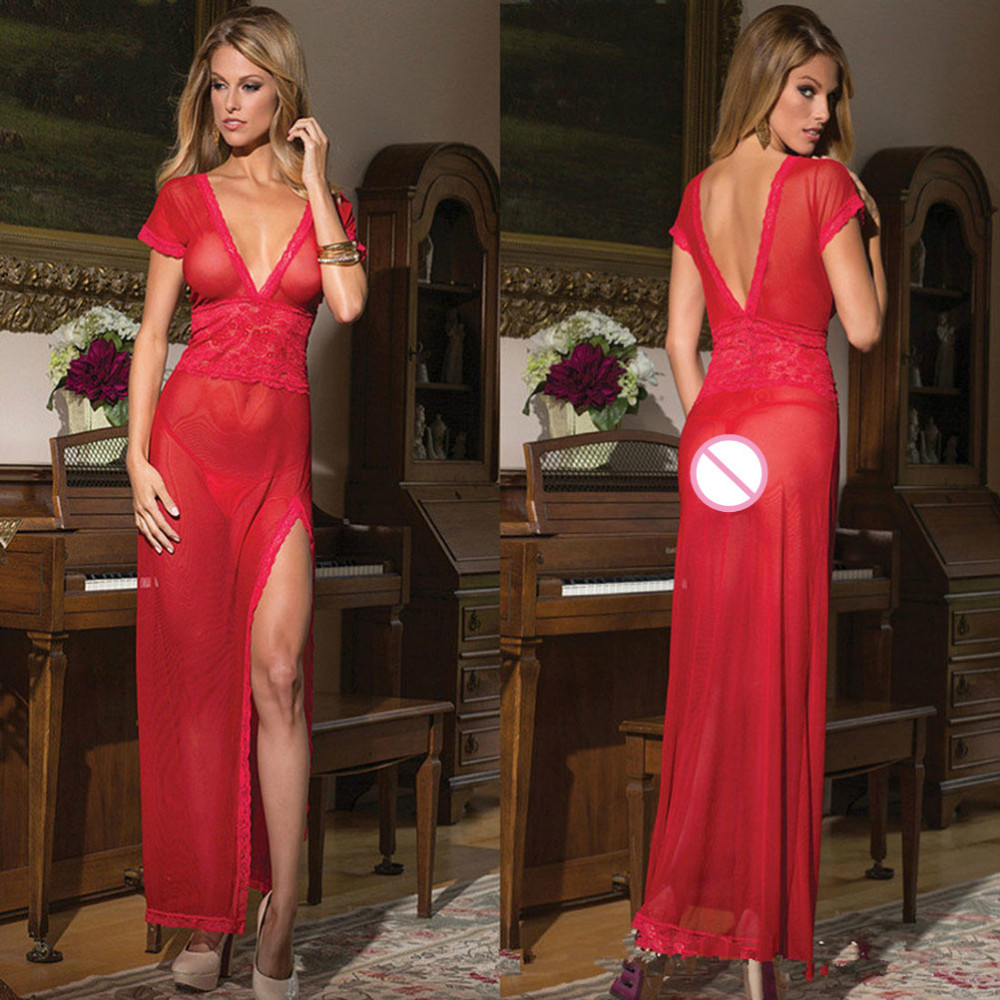 1 Set Sexy long dressing night gown sheer transparent dress evening nightgown nightie sleepwear lingerie + G-string
