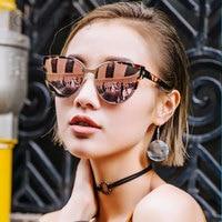 Cat Eye Vintage Sunglasses Brand Designer 2016 New Women Metal Frame Fashion Rose Gold Sun Glasses