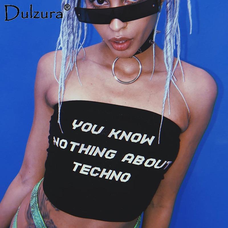Dulzura letter print boob tube top sleeveless crop top off shoulder stretch cotton black tanks 2018 summer sexy women