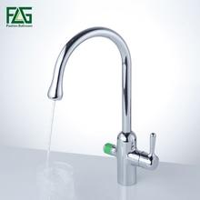 Flg твердой латуни кухонный кран 360 градусов вращения с очистки воды Особенности двойная ручка фильтр для воды смесителя