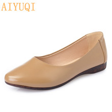 AIYUQI women flat sandals 2019 Spring genuine leather women flats shoes soft bottom,breathable hole casual loafers mother shoes beyarne handmade folk style women flats casual shoes genuine leather lady soft bottom shoes for mother fashion loafers