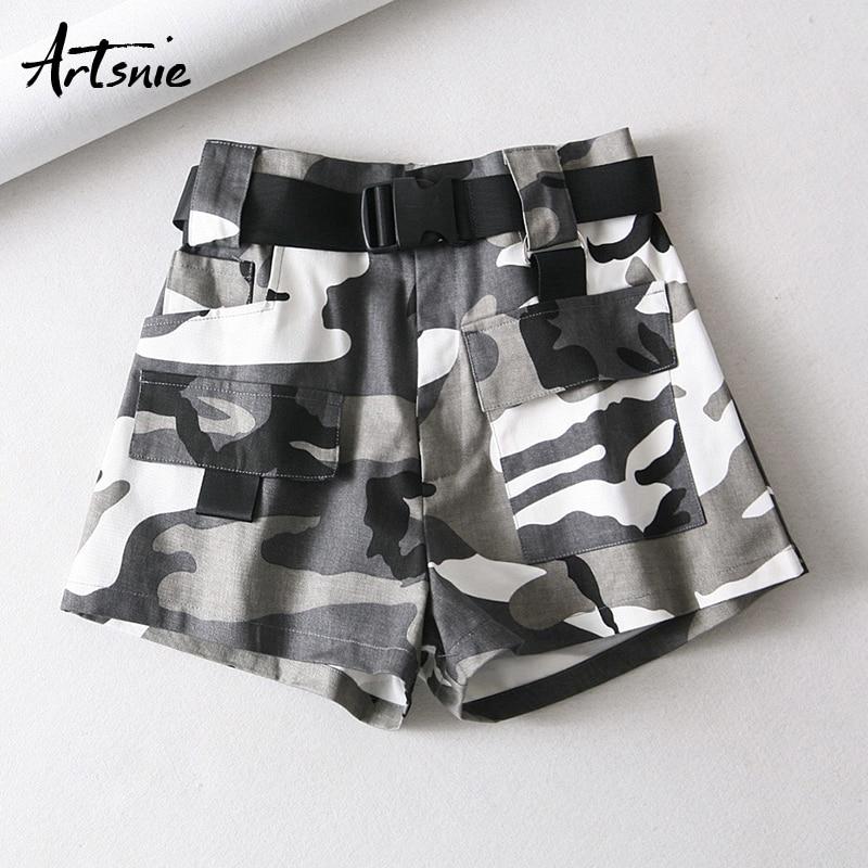 Artsnie Camouflage Print High Waist   Shorts   Women Spring 2019 Double Pockets Sashes Summer Streetwear Casual Girl   Shorts   Feminino