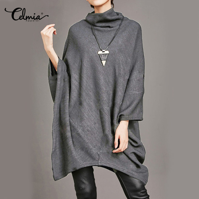 7b6df9f2f1189 US $12.76 30% OFF Celmia Kaftan Shirt Dress 2019 Autumn Women Casual  Batwing Sleeve Asymmetrica Loose Solid Turtleneck Oversized Pullover  Vestidos-in ...