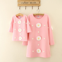 Mother Daughter Dresses Girls Dress Kids Girls 2017 Autumn Long Sleeves O Neck Flowers Solid Princess