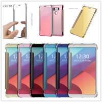 For LG G6 5 7 Case Smart Mirror Case Flip Cover For LG G6 Plating PC