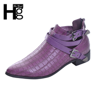 Fashion PU Leather Women Boots 2015 Pointed Toe Crocodile Stripe Boots Ankle Buckle Woman Shoes Autumn