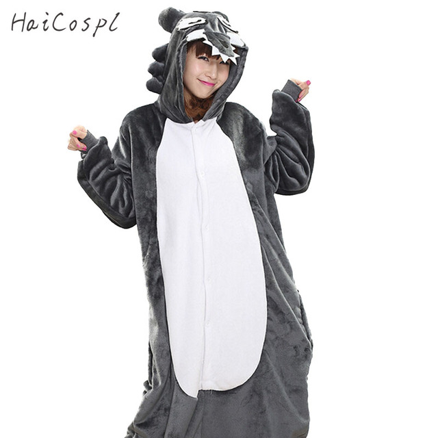 5843703b1e80 Timber Wolf Pajama Set Onesie For Adult Women Winter Warm Flannel Animal  Cosplay Costume Girls Festival Party Loose Kigurumi