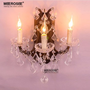 Modern Wall Lamp 3 Lights Crystal Wall Lamp Rust Color Wall Sconces Lustre American Style Wall Brackets Lighting Bedroom