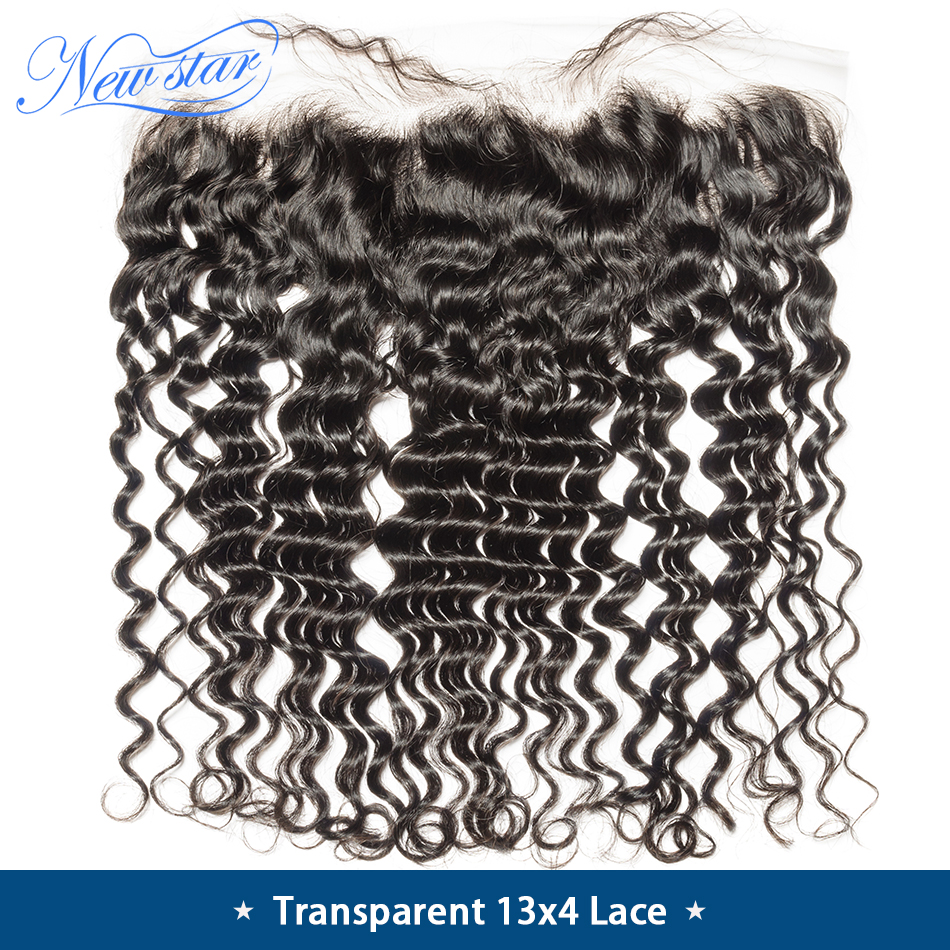 Lace Closures Deep-Wave Human-Hair Virgin Pre-Plucked Brazilian 13x4 New Star Transparent