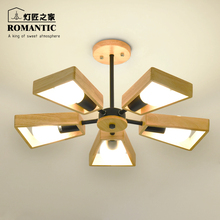 A1 Nordic NEW chandelier solid wood restaurant Japanese minimalist modern study bedroom log ceiling lamp creative lamps