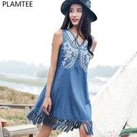 2016 Newest Elegant Embroidery Summer Dress Women Ethnic V Neck Robe Tassel Denim Vestidos Fashion Vintage