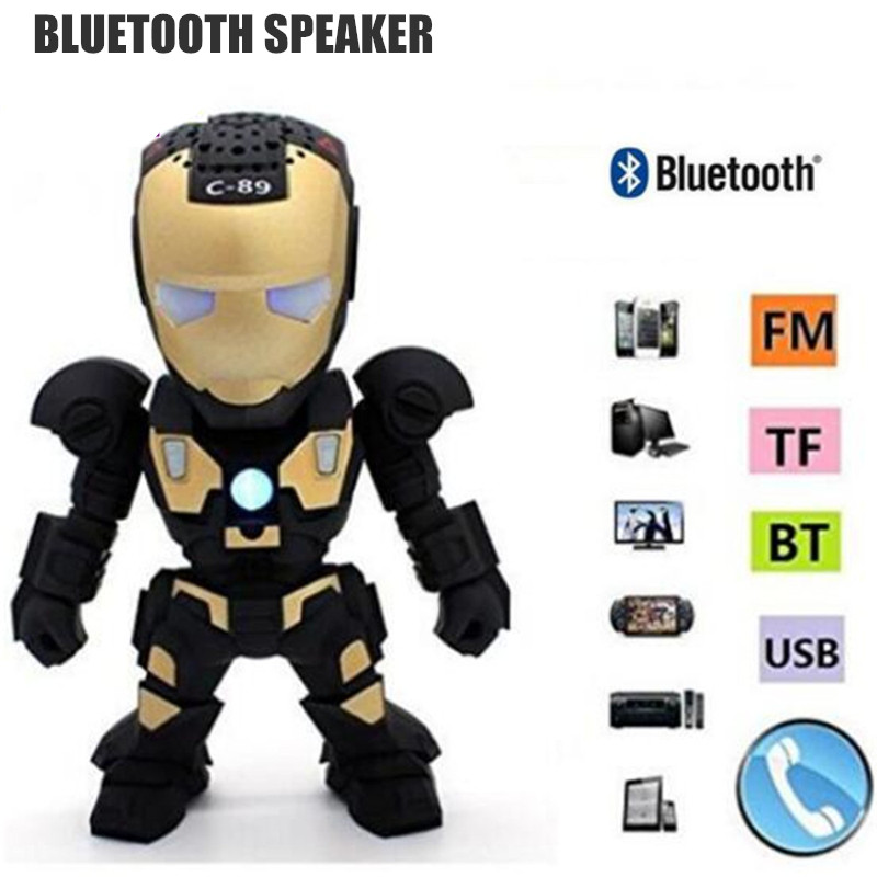 Fuy Bill C-89 Bluetooth Speaker with LED Flash Light Deformed Arm Figure Robot Portable Mini Wireless Subwoofers TF FM USB Card
