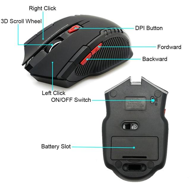 Mouse Wireless da 2.4GHz con ricevitore USB Gamer Mouse da 2000DPI per Computer PC Laptop 5