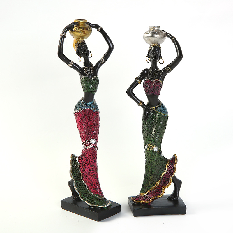 Exquisite Ethnic Style African Beauty Creative Home Furnishings Festival Gift Resin Handicrafts African Beauty Statue Sculpture