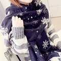 Japan 's Christmas snowflake imitation cashmere scarf new couple models of winter large dual - use shawl scarf