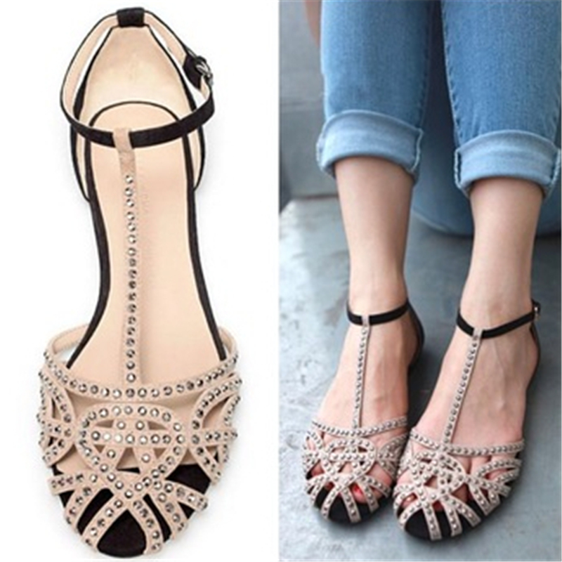 Supernova Sales Brand flat sandals for women new arrivals cutout summer shoes rhinestone Hollow fashion the