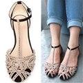 Supernova Ventas de la Marca sandalias planas para las mujeres nuevas llegadas zapatos de verano rhinestone Hueco de la manera de las sandalias del recorte