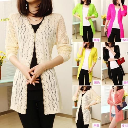 f6fd361be Wavy Edge Knitwear Slim Loose Hollow Out Knitting Cardigan Long Sleeve Coat  Woman Prevent Bask Sweater air condition Sun coat