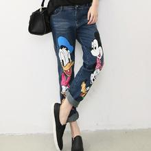 women's cartoon print painted denim jeans pants trousers plus size 25-30,D372