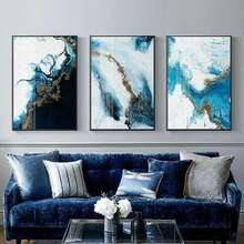 Blue Golden Color Canvas Art Decorative Abstract Wall Painting Paintings on The Pictures for Living Room
