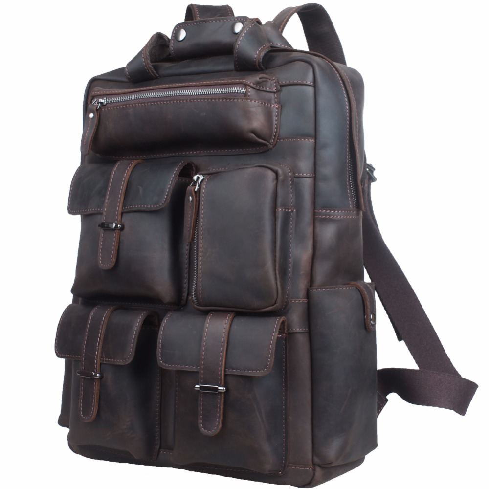 TIDING Cowhide Leather Multi Pockets Laptop Backpack Weekender Travel Rucksack US3081 tiding cool cowhide leather laptop backpack day pack activity travel weekender overnight bag 30813
