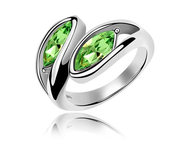 Green Crystal Olive Stone Shaped Fashion Ring  White Gold Plated Unisex Men Women Rock Biker Style