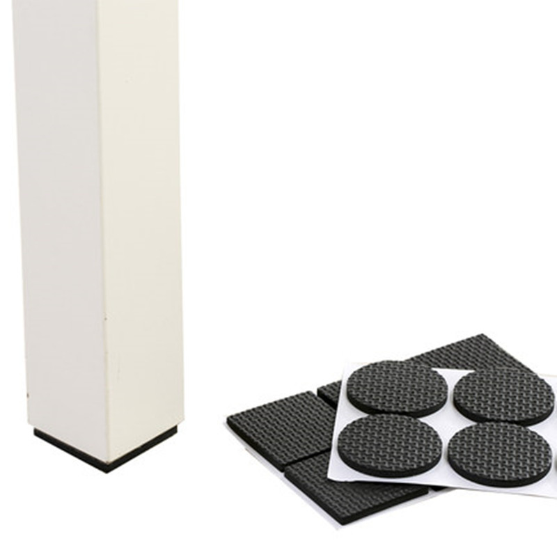 WHISM Self Adhesive Furniture Chair Protectors Black Feet Leg Pads Caps Floor Table Covers For 20-90MM Square Round Non-slip Mat