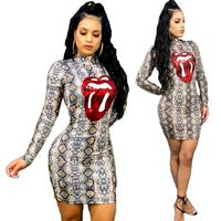 2019 New Spring Fashion Bodycon Dress Snake Printed Long Sleeve Red Sequin Lips Package Hips Mini Dress D3674