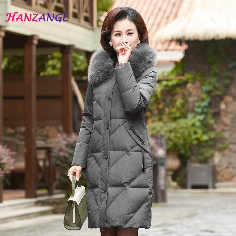 HANZANGL Winter   down   jacket 2018 women   coat   real fox fur collar   down     coat   fur hooded warm parka middle-aged mother outwear L-5XL