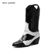 2019 zima nowe klasyczne kowbojki z dalekiego zachodu dla kobiet Pointy Toe skórzane buty Cowgirl buty na kwadratowym obcasie kobieta buty ze skórki cielęcej