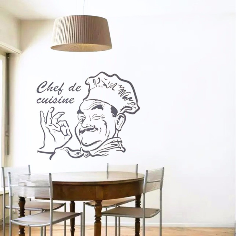 New chef de cuisine removable decor sticker wall sticker for Poster deco cuisine