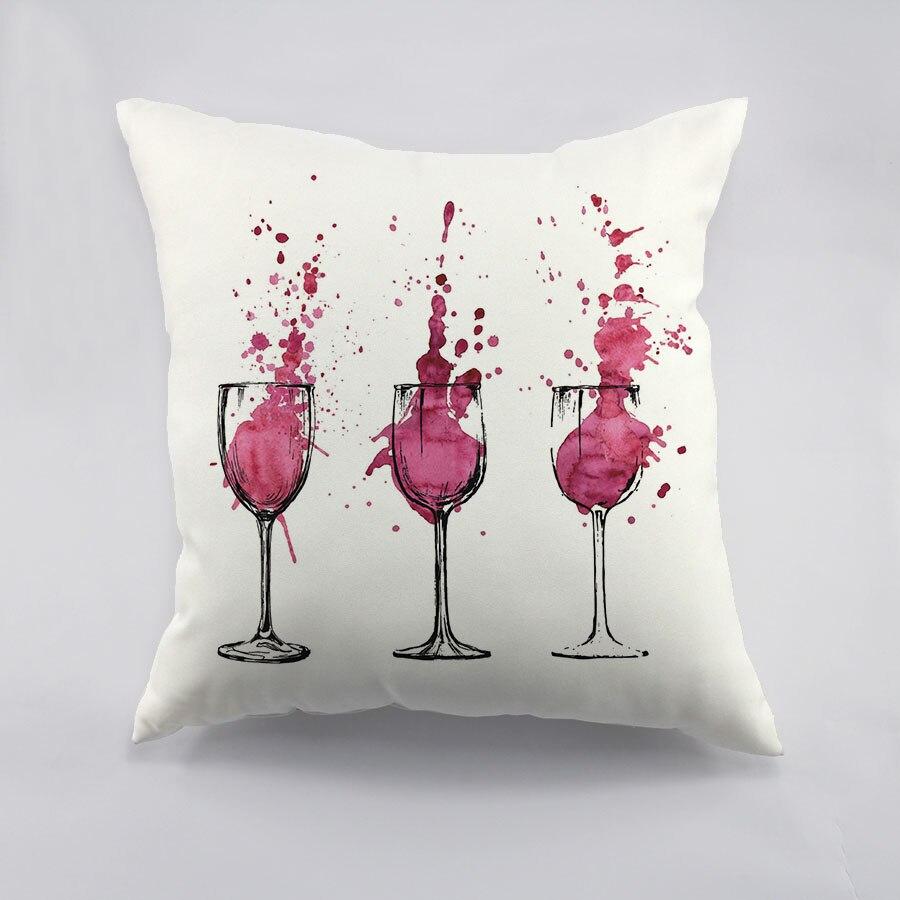 Gobelet Design Throw Taie D'oreiller Rouge Vin Couleur Cottom Liene Housse de Coussin Maison Voiture Décoration Coussin Couverture