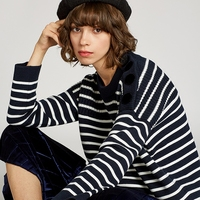 wool sweater pullover jumper white black striped button women oversize warm thick sweater knitted knitwear 2018 new high quality