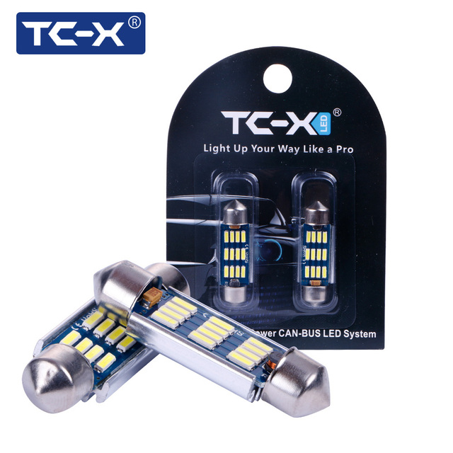 TC-X 1 Pair LED Canbus Dome Festoon 31/36/39/42MM 4014 SMD Auto Car Light Bulb Dome Interior License Plate Light 12V Car-styling